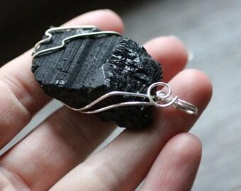 Black Tourmaline Silver Wire Wrapped Pendant  #7229