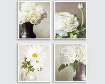 Shabby Chic Home Decor, Shabby Flower Print Set or Flower Canvas Art, Beige Cream Ivory, Flower Pictures of Flowers, Cottage Chic Wall Art.