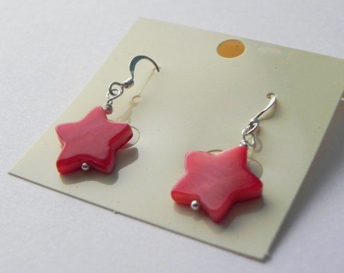 Red shell star sterling silver drop earrings