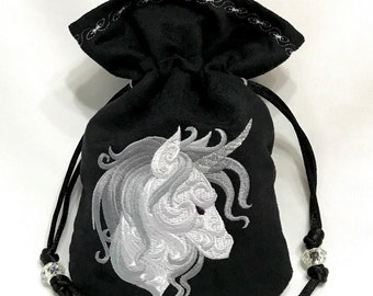 SILVER UNICORN - Faux Suede Embroidered Dice Bag, Rune Bag, Tarot Card Pouch, Jewelry Bag, LARP Accessory