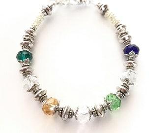Mother's Bracelet, Silver Birthstone Bracelet, Custom crystal bracelet