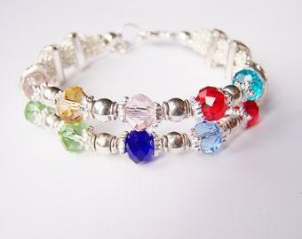Mothers Birthstone Bracelet, Swarovski Family Bracelet, Double Strand Grandmothers bracelet