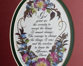 Serenity Prayer with flowers. Rose art. Gift for gardener. Pressed flower REPRODUCTION. Mothers Day gift . Floral art. Matted reproduction.