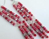 Custom Order Red Red Dangle Earrings, Seed Bead Earrings