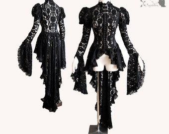 Lace Victorian waistcoat, black, gothic cardigan, steampunk, Somnia Romantica, approx size small, see item details for measurements