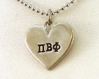 Pi Beta Phi Jewelry / Pi Beta Phi Necklace / Pi Beat Phi Heart Necklace
