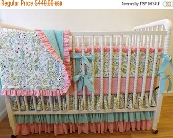 SPRING CLEANING SALE--- Made to Order- Baby Bedding- Girl Crib Bedding Set- Leanika- Lovebirds