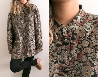 Vintage Silk Tapestry Coat / Floral Print Silk Jacket / Abstract Tapestry Jacket / Cheongsam Mandarin Collar Ethnic Boho Button Up Qipao XL