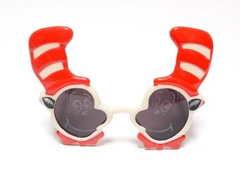vintage 90s Dr. Seuss Cat in the Hat sunglasses Islands of Adventure novelty glasses 1990 vintage cartoon sunglasses