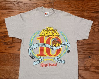vintage 80s The Beast t-shirt roller coaster t-shirt tee shirt King's Island 1980 1989 10 years coaster enthusiast S small heather gray