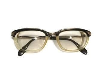 Vintage 10k Rose gold filled horn rim glasses dark brown, clear with gold earpiece c1960