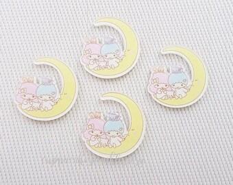 1pc - Kitschy Little Twin Stars Sleepy Moon Acrylic Decoden Cabochon (39x45mm) LTS007