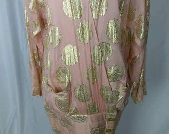 Gideon Oberson Israeli Designer Pink Silk Chiffon w Gold Lame' Roses 80s Dress Size 38