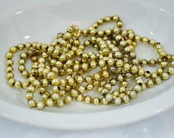 "Vintage Gold Glass Bead Garland 8' Length 3/8"" Beads Christmas Tree Decoration Crafts Repurpose 1950's"