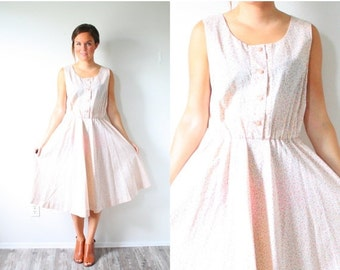 30% OFF VALENTINES SALE Vintage Boho pink floral midi 50s dress // sleeveless peachy dress // peasant dress // floral midi dress // button d