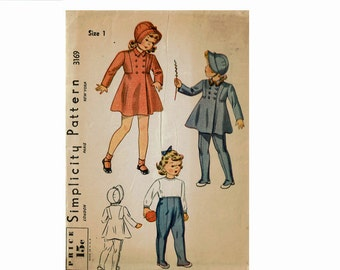 1930s Size 1 Little Girls Coat Hat and Leggings Double Breasted coat Brimmed bonnet Simplicity 3169 30s Vintage Sewing Pattern
