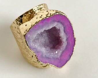 Natural pink agate + gold ring