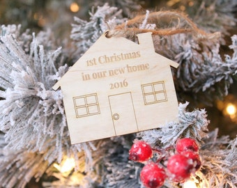 1st Christmas In Our New Home House Ornament Farmhouse Christmas Rustic Christmas Tree Ornament 2016 Ornament
