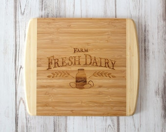 Farmhouse Kitchen Bamboo Cutting Board Fresh Dairy Christmas Gift Chief Gift State Cutting Board Farmhouse Style