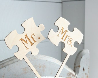Puzzle Pieces Cake Topper Mr and Mrs Puzzle Piece Cake Topper Puzzle Cake Topper Wedding Cake Topper Rustic Cake Topper #Downintheboondocks