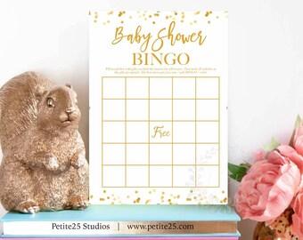 Baby Shower Bingo game, gold foil dots, printable game, baby shower game, bingo card