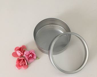 Set of 10 round tin container: 2 oz. clear top, party favor box, favor container, mint container, metal container