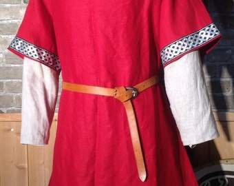 Historical Viking, Medieval linen tunic with wide Celtic knot trim