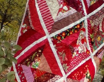 Red String Quilt For Baby Or Lap Quilt Or Tablecloth
