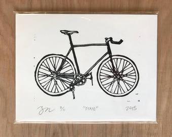 Bicycle Woodcut