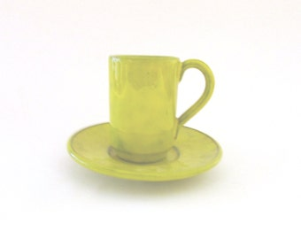 Italian Art Pottery Demitasse Cup and Saucer. Yellow Chartreuse Glaze over Black. Italy PV Mittledorfer-Strauss - FL