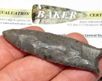 Authentic Fluted Cumberland Arrowhead Ohio Indian Artifact with COA G-10 Museum Grade Ancient Native American Horstone Relic Spear Point