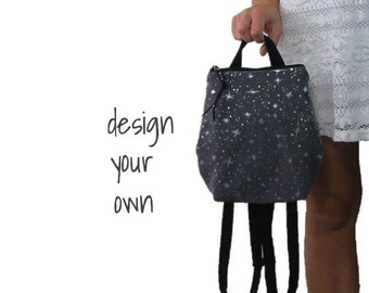 small backpack purse. design your own chevron, polka dots, paisley, and more. Adjustable straps for mini backpack.