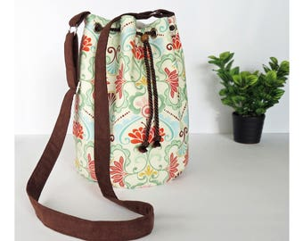 Floral Bucket Bag in Red, Pink, Green & Blue