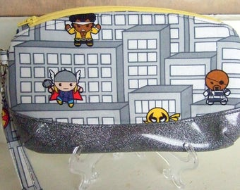 City Avengers Fabric Zippered Wristlet Clutch Purse / Makeup Bag / Geek Chic