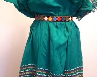 Vintage Guatemalan Woven Ikat Dress. 1960s to 70s. Huipil. Maya Land label. Medium to Large