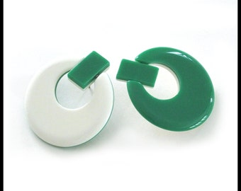 Large Green and White Post Earrings / Reversible Hoop / Two-in-One Dual Design / Vintage Retro 1980s / Lucite / Stud / St. Patrick's Day