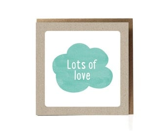 Lots Of Love / Available in Dutch and English / Greeting Card / Aqua Color / Green / Cloud / Basic Cards /