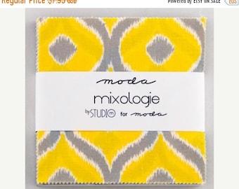 LAST ONE Mixologie Studio M Moda Charm Pack 5 inch squares Modern Yellow Blue