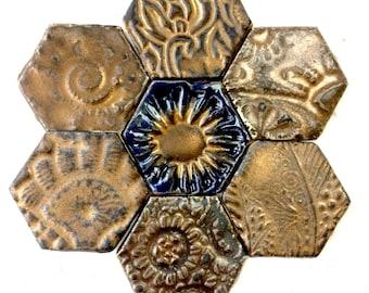 Magnet Set, Fridge Art, Metallic Bronze magnets, Refridgerator Magnets, hostess gift, Hexagon magnets, fridge magnets, ceramic pottery