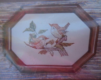 Vintage 1980s Country Cross-Stitch Wren Birds North American Birds Counted Kit Craft Embroidery Instructions NIP 1985