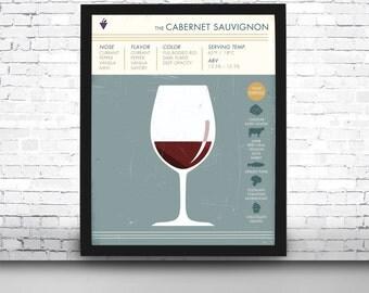 Cabernet Sauvignon Art Print, Wine Art Print, Wine Print, Wine Poster, Wine Print, Digital Wine Print, Cabernet Sauvignon, Wine Art Prints