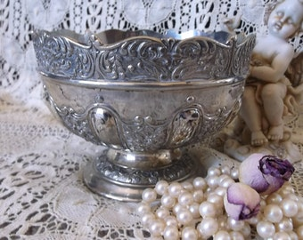 Silver metal vintage bowl, ornate metal bowl, Romantic cottage home decor