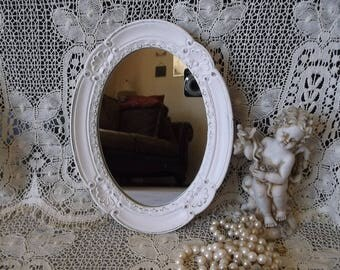 Ornate Shabby Cottage, oval mirror, creamy white, upcycled, French country style
