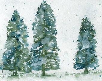 Three Snowy Spruce Trees Holiday Art Print, Christmas Decor, Winter Landscape Print
