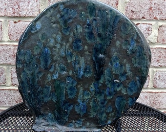 Vintage 1980's Ceramic Art Studio Pottery Blue and Black Abstract Sculpture from Brooks Collection - VERY COOL!!