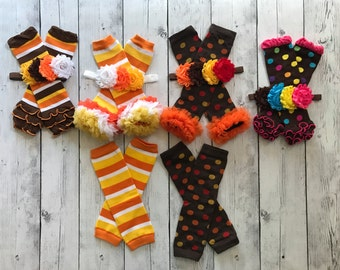 Ready to Ship Fall/Thanksgiving Shabby flower headband and Leg Warmers Girls Leggings orange yellow brown