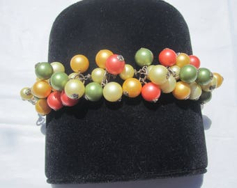 Acrylic Bead Bracelet in Green,Yellow,Orange and Coral