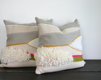 Modern Weaving Linen and Wool Textural Throw Pillow