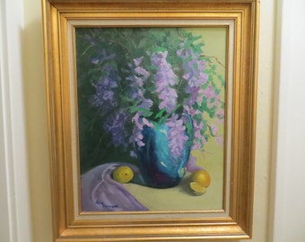 Vintage Oil Painting SIGNED Large / IMPRESSIONIST Modern floral Still Life / 21x25 fr