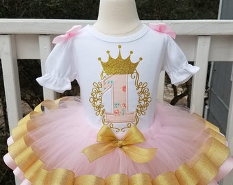 Once upon a time royal majesty girls 1st birthday tutu set